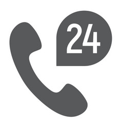 call 24 glyph icon support and all day button vector image