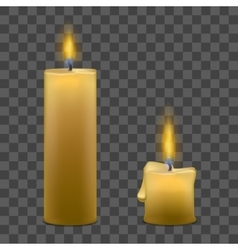 Candles with Fire Set on Transparent Background vector image