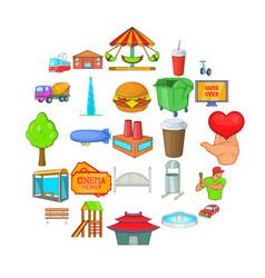 capital icons set cartoon style vector image
