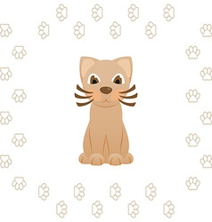 Cartoon kitty cat in frame of animal footprints vector image