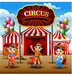 cartoon three boys standing in on the circus arena vector image