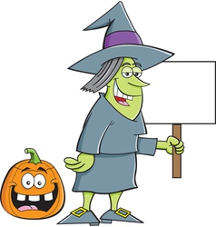 Cartoon Witch Holding a Sign vector image