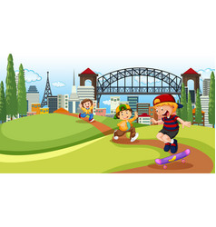 children playing in city park vector image