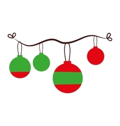 Christmas balls decoration isolated icon vector