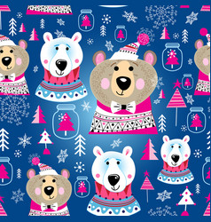christmas pattern with portraits bears vector image