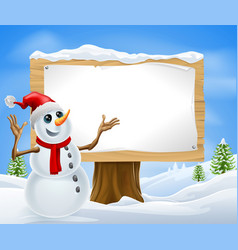 christmas snowman and winter sign vector image
