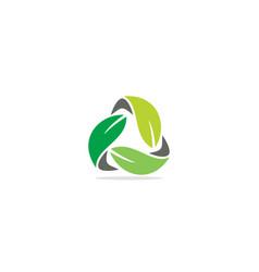 Circle green leaf organic eco logo vector