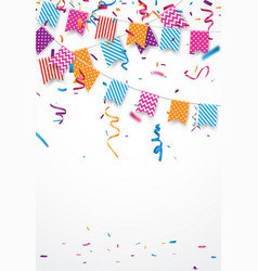 Colorful birthday balloon with confetti vector
