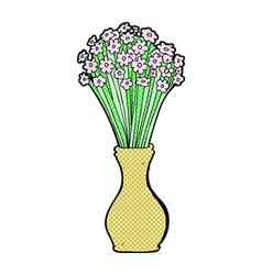 comic cartoon flowers in pot vector image