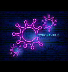 Coronavirus neon icon covid-19 isolated on wall vector