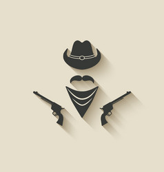 Cowboy hat and gun vector