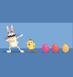 cute easter characters dabbing having fun vector image