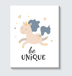 cute sticker running unicorn with be unique vector image