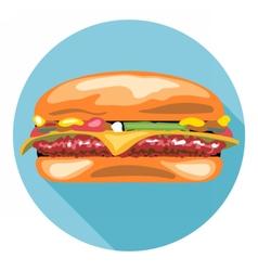Digital tasty cheese burger vector image