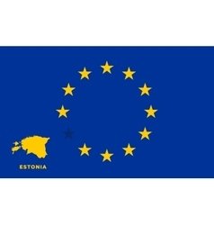 EU flag with Estonia country European Union vector