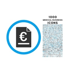 Euro Invoice Rounded Icon with 1000 Bonus Icons vector image