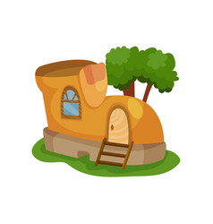 fairy-tale house in form of yellow shoe with vector image