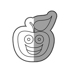 figure red kawaii fruit apple happy icon vector image