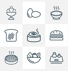 food icons line style set with eggs soup toast vector image