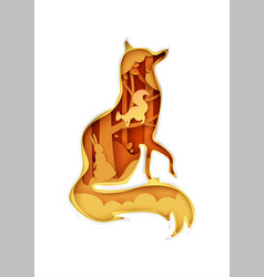 Fox silhouette with nature wild animals inside vector