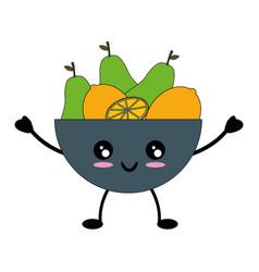 fruits on dish cute kawaii cartoon vector image