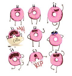 funny pink donut cartoon character set cute vector image