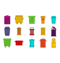 garbage can icon set color outline style vector image