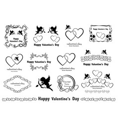 graphic design elements vintage valentines love vector image