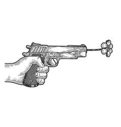 gun shoots a flower sketch engraving vector image