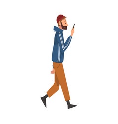 Guy walking outside young man looking at his vector