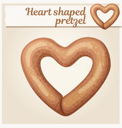 heart shaped pretzel cookie vector image