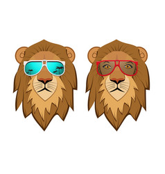 hipster lion with sunglasses vector image