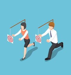 Isometric business people try to catch target vector