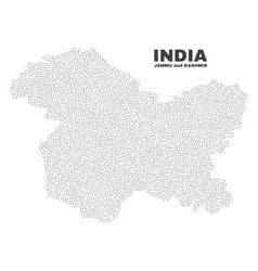 Jammu and kashmir state map of dots vector