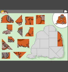 jigsaw puzzle game with orangutan animal character vector image