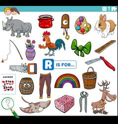 Letter r words educational task for children vector