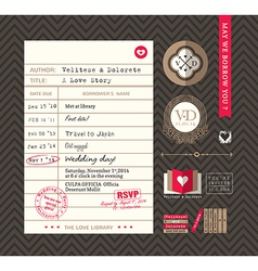 Library card Idea Wedding Invitation design vector