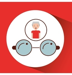 Man elderly with gift glasses graphic vector