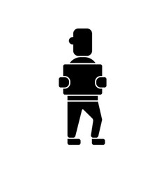 man with box icon black sign vector image