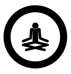 man yoga stick icon black color in circle vector image