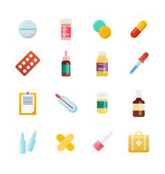 medicine cartoon pill drug table antibiotics vector image