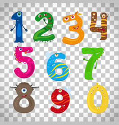 Monster numbers on transparent background vector