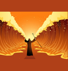 Moses and red sea vector