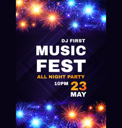 Music fest poster template with shining fireworks vector