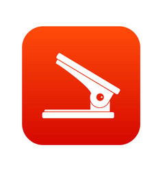 Office paper hole puncher icon digital red vector