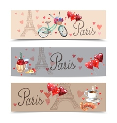 Paris watercolor symbols banners vector