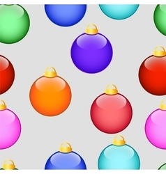 Pattern with Christmas colored balls on grey vector