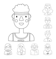 People of different professions outline icons in vector