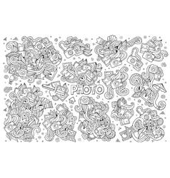 Photo doodles hand drawn sketchy symbols vector