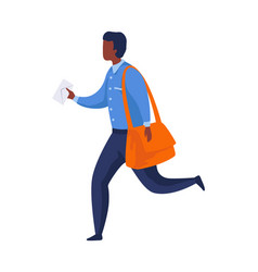 postman run with letter mailman in blue uniform vector image